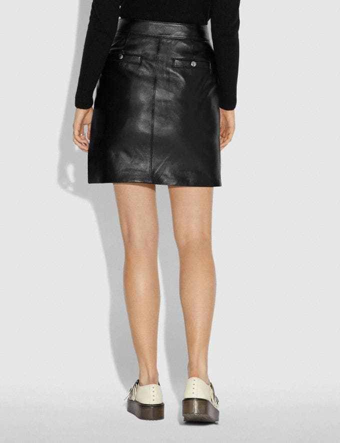 Coach Leather Mini Skirt Black  Alternate View 2