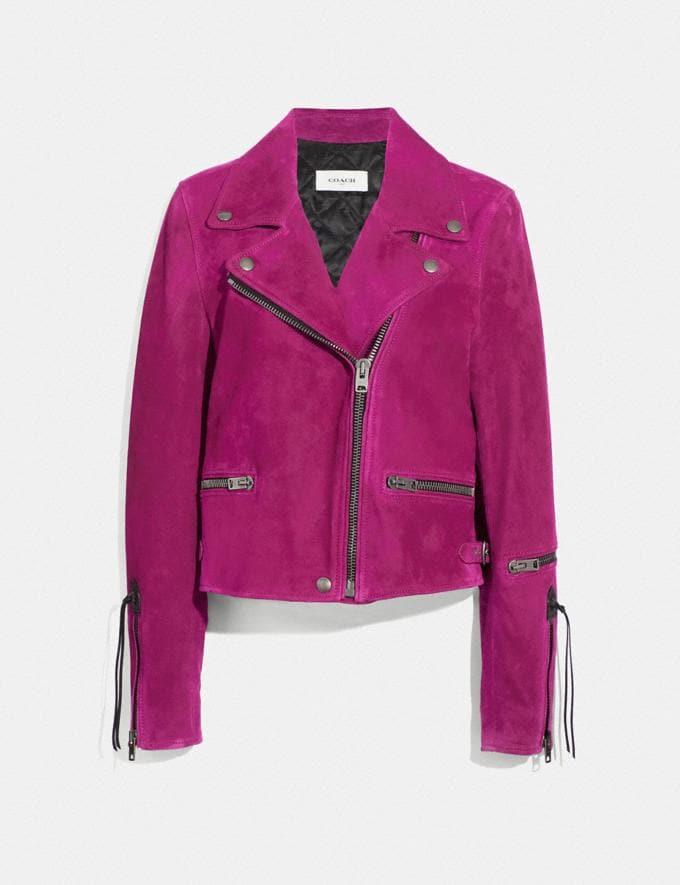 Coach Suede Moto Jacket Fuschia VIP SALE Women's Sale Ready-to-Wear