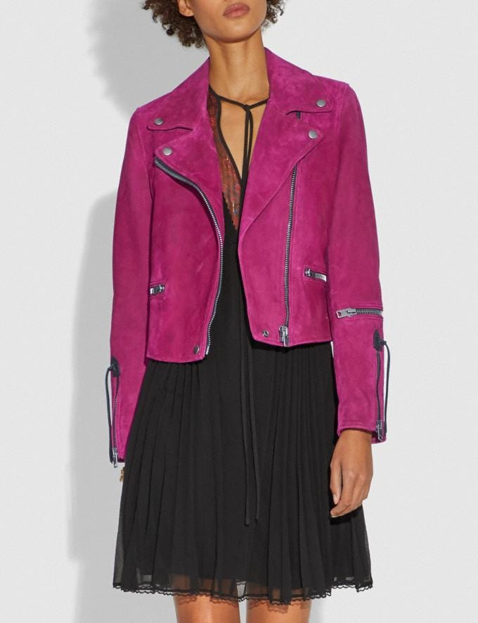 Coach Suede Moto Jacket Fuschia CYBER MONDAY SALE Women's Sale Ready-to-Wear Alternate View 1