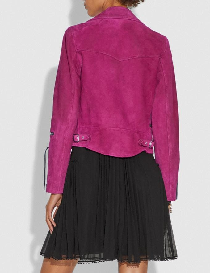 Coach Suede Moto Jacket Fuschia CYBER MONDAY SALE Women's Sale Ready-to-Wear Alternate View 2