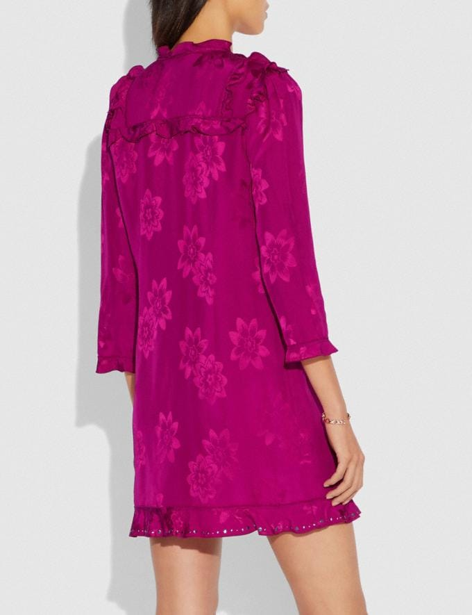 Coach Ruffle Dress Fuschia SALE Women's Sale Ready-to-Wear Alternate View 2