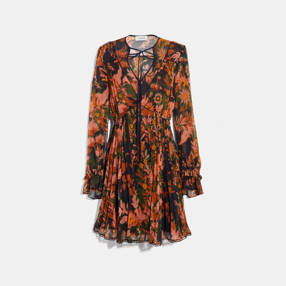 Coach Forest Floral Print Pleated Dress With Necktie