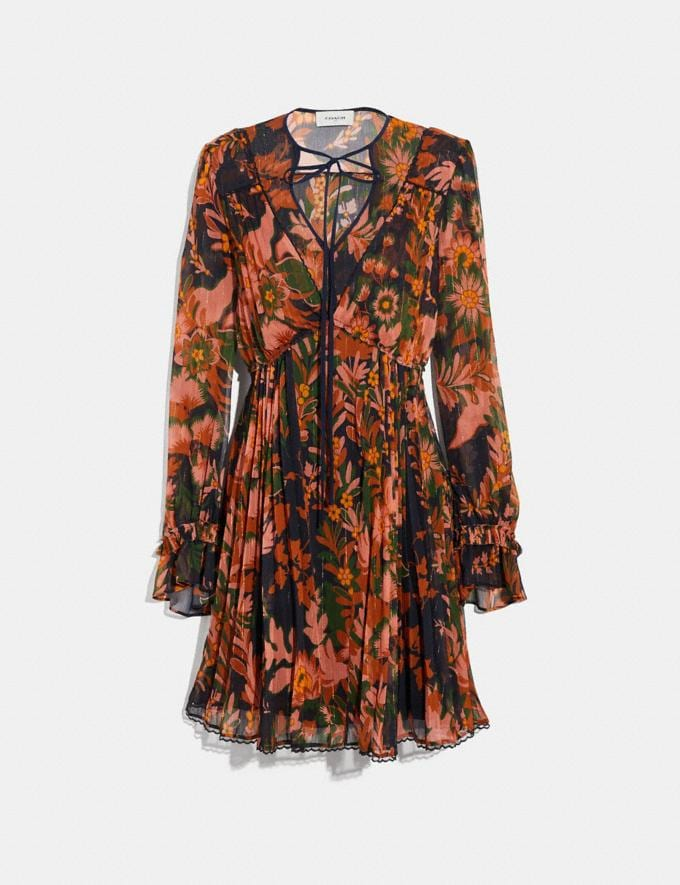 Coach Forest Floral Print Pleated Dress With Necktie Green/Peach SALE Women's Sale Ready-to-Wear