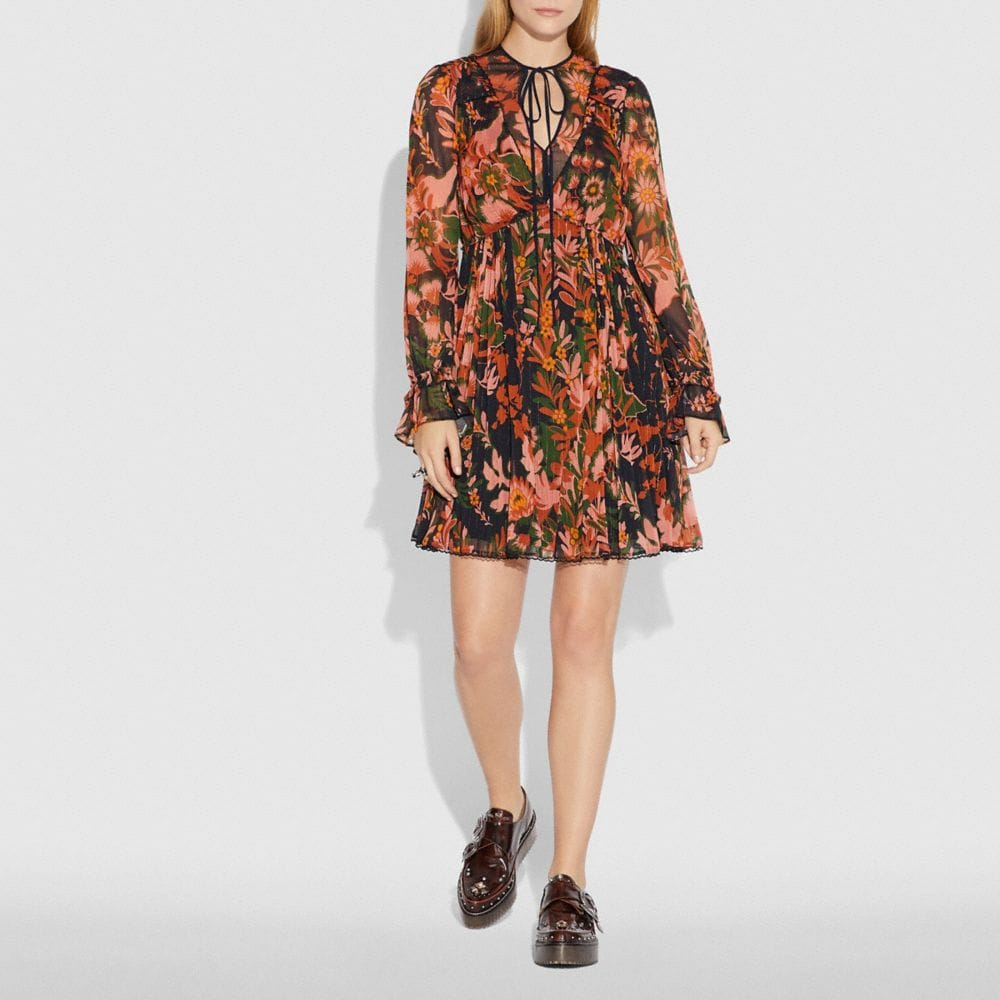 Coach Forest Floral Print Pleated Dress With Necktie Alternate View 1