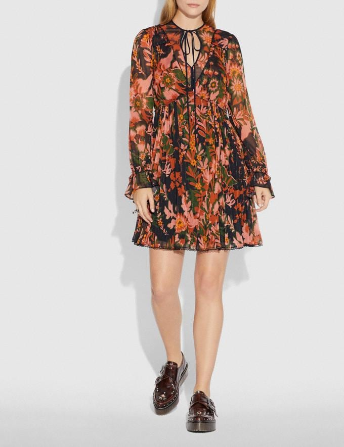 Coach Forest Floral Print Pleated Dress With Necktie Green/Peach SALE Women's Sale Ready-to-Wear Alternate View 1