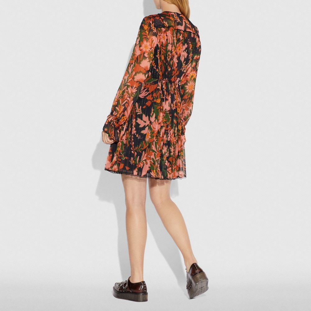 Coach Forest Floral Print Pleated Dress With Necktie Alternate View 2