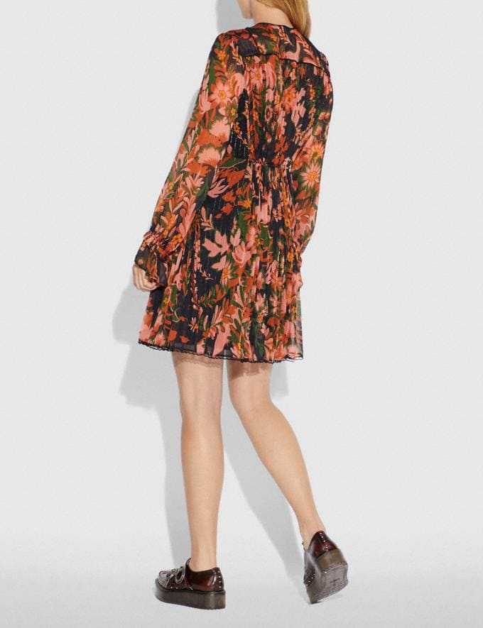 Coach Forest Floral Print Pleated Dress With Necktie Green/Peach SALE Women's Sale Ready-to-Wear Alternate View 2