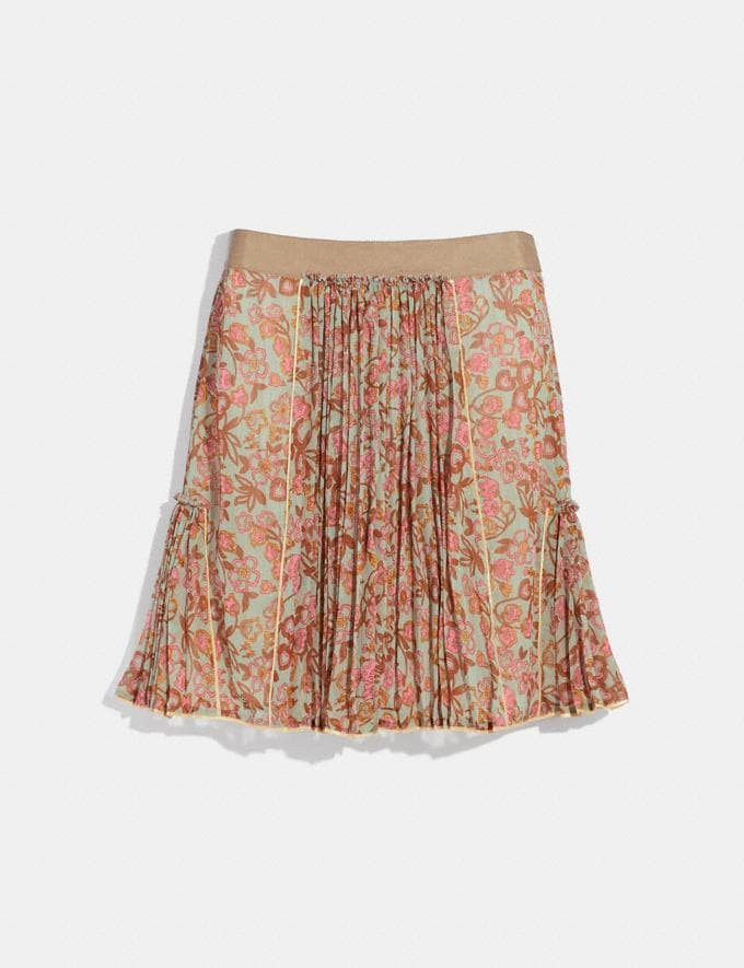 Coach Retro Floral Print Pleated Skirt Brown/Pink null