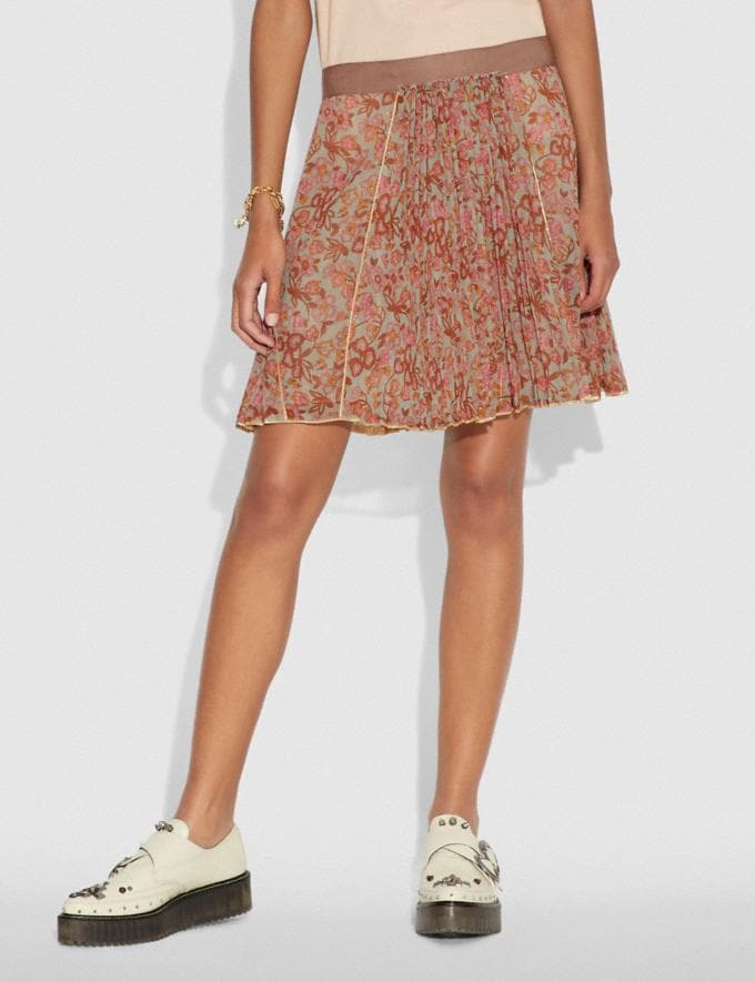 Coach Retro Floral Print Pleated Skirt Brown/Pink SALE Women's Sale Ready-to-Wear Alternate View 1