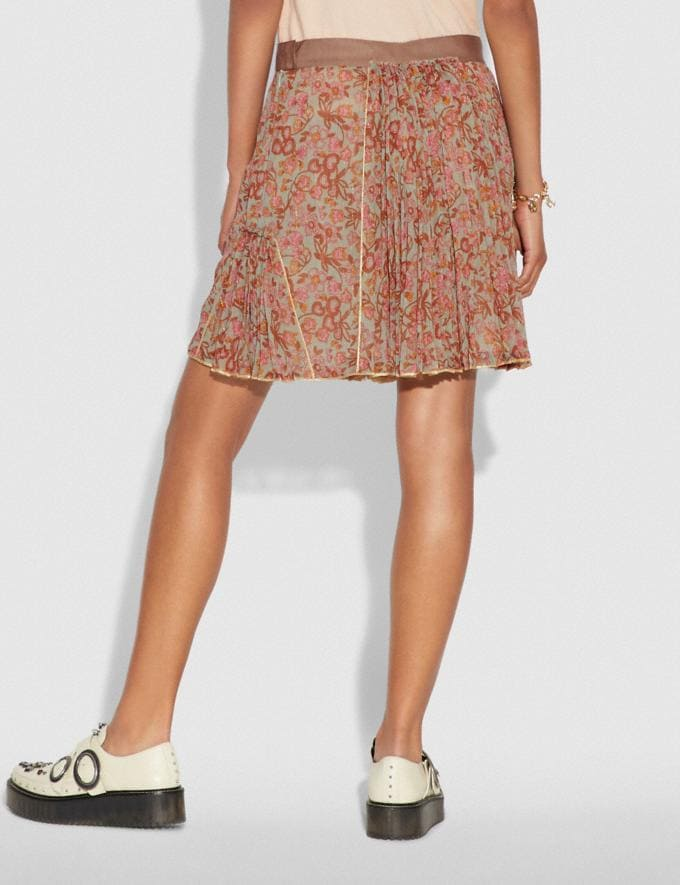 Coach Retro Floral Print Pleated Skirt Brown/Pink SALE Women's Sale Ready-to-Wear Alternate View 2