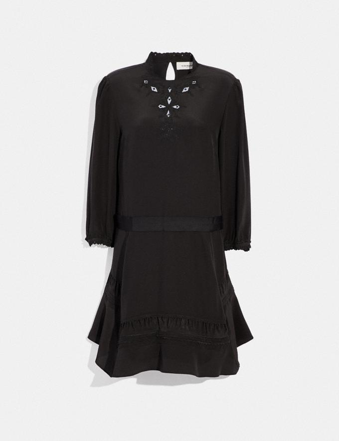 Coach Embroidered Dress Black