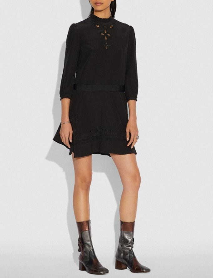 Coach Embroidered Dress Black  Alternate View 1
