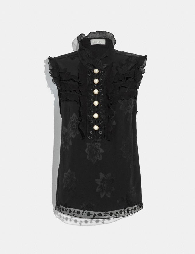 Coach Floral Jacqaurd Victorian Top Black CYBER MONDAY SALE Women's Sale Ready-to-Wear
