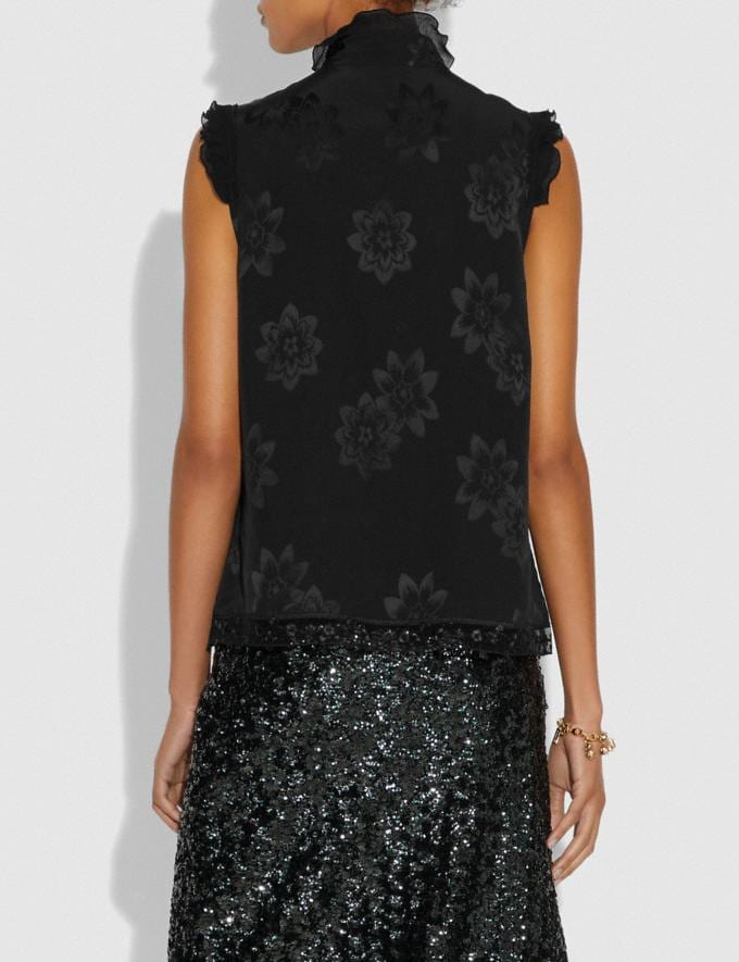 Coach Floral Jacqaurd Victorian Top Black Women Ready-to-Wear Tops Alternate View 2