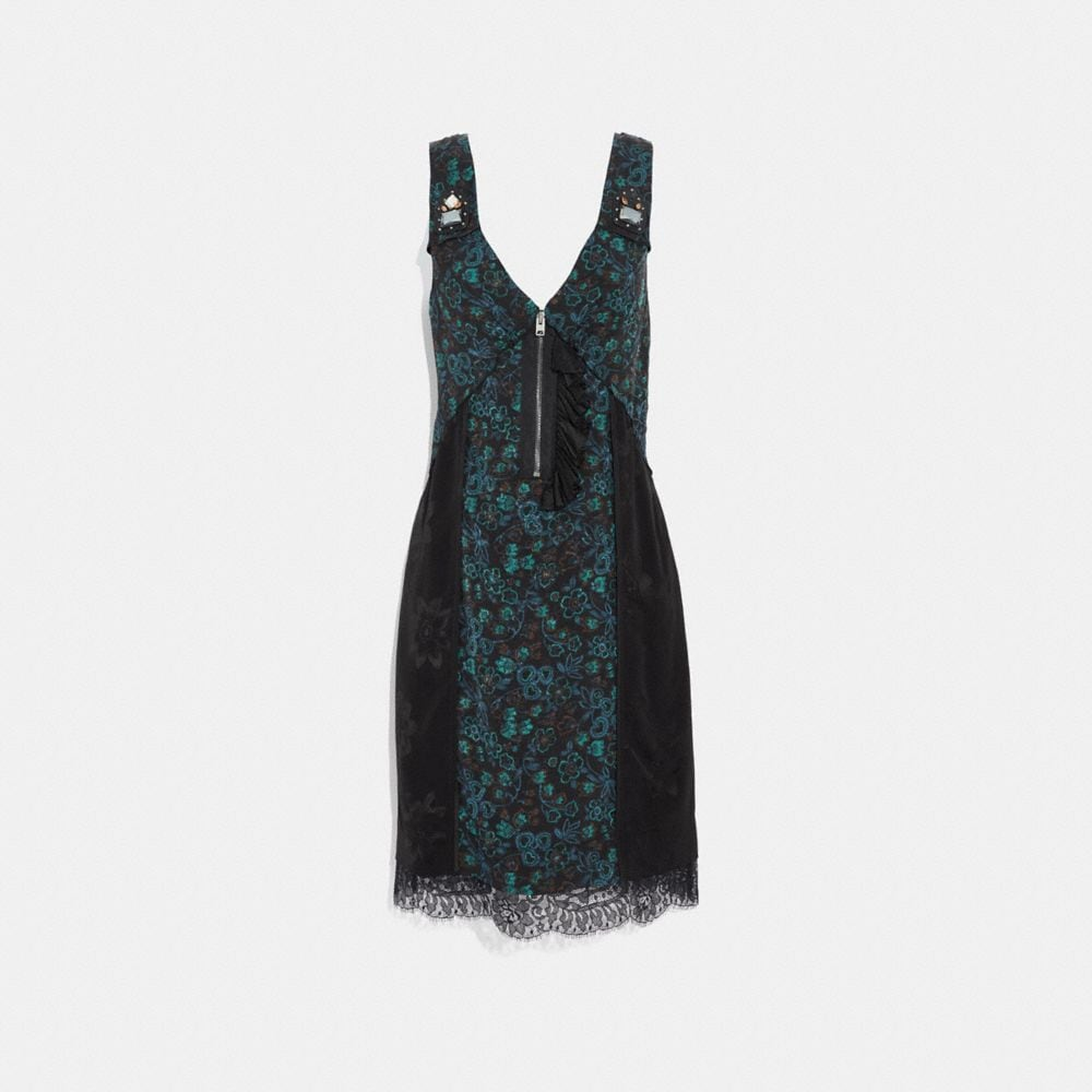 retro floral print slip dress