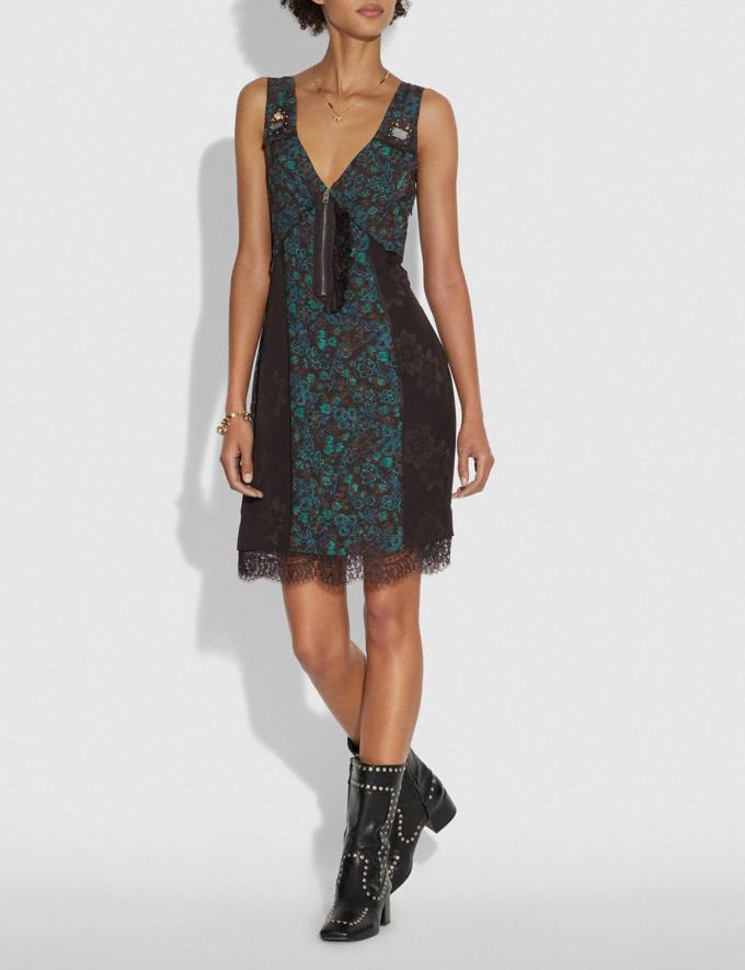 Coach Retro Floral Print Slip Dress Navy/Green SALE Women's Sale Ready-to-Wear Alternate View 1