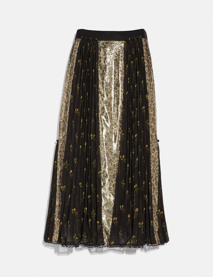 Coach Long Pleated Skirt Gold Women Ready-to-Wear Bottoms