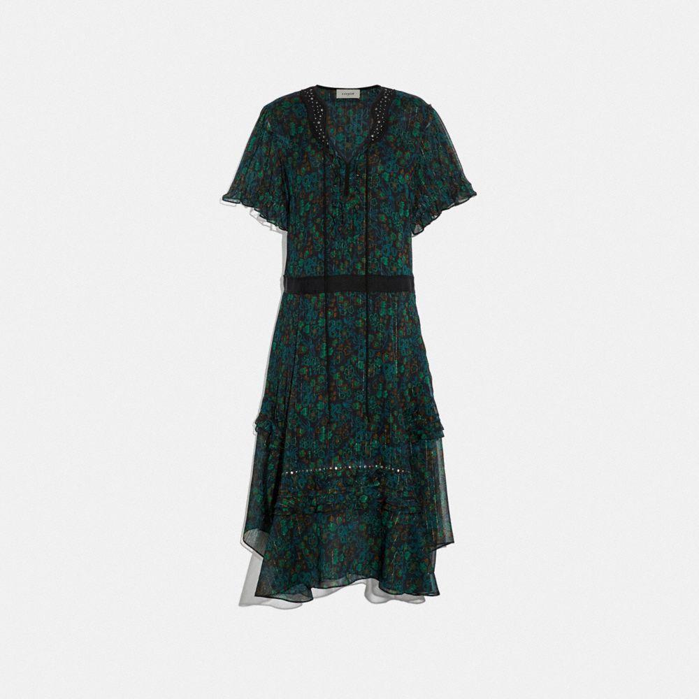 EMBELLISHED RETRO FLORAL DRESS