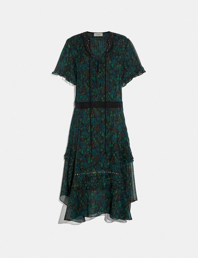 Coach Embellished Retro Floral Dress Navy/Green Women Ready-to-Wear Dresses
