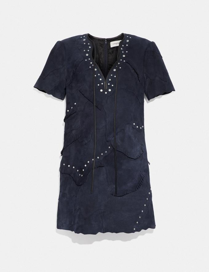 Coach Pieced Suede Dress Navy SALE Women's Sale Ready-to-Wear