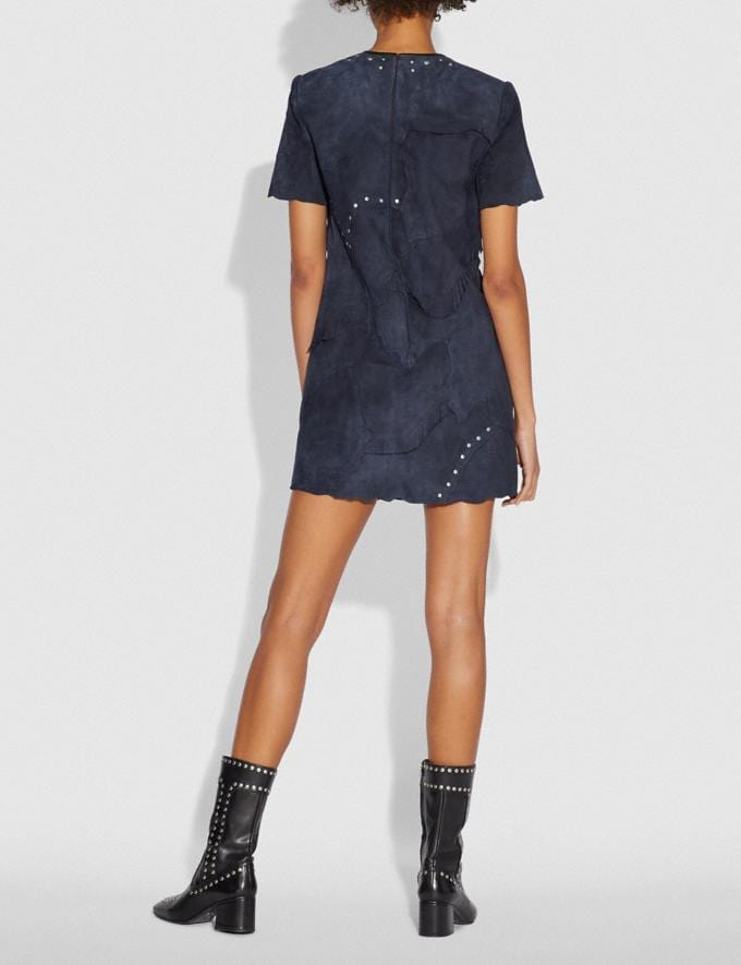 Coach Pieced Suede Dress Navy SALE Women's Sale Ready-to-Wear Alternate View 2