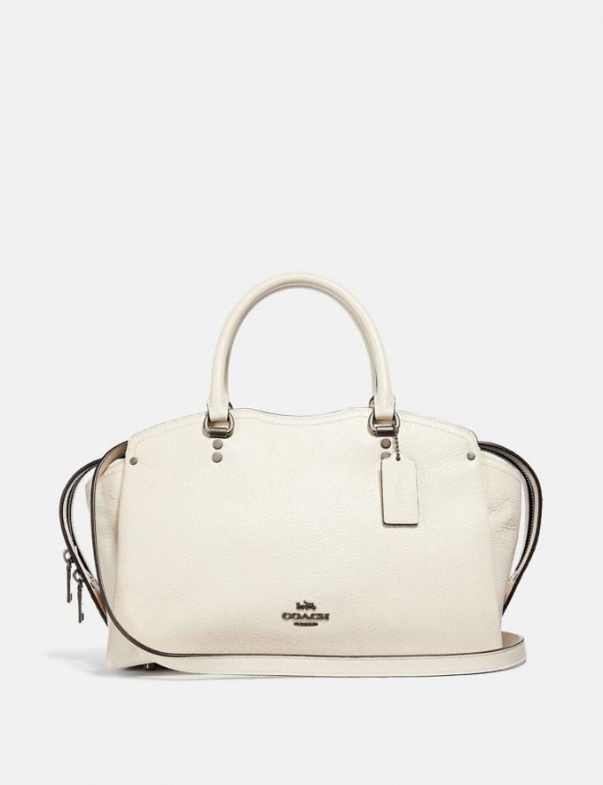 Coach Coach Drew Satchel With Snakeskin Detail Chalk/Gunmetal New Women's New Arrivals View All
