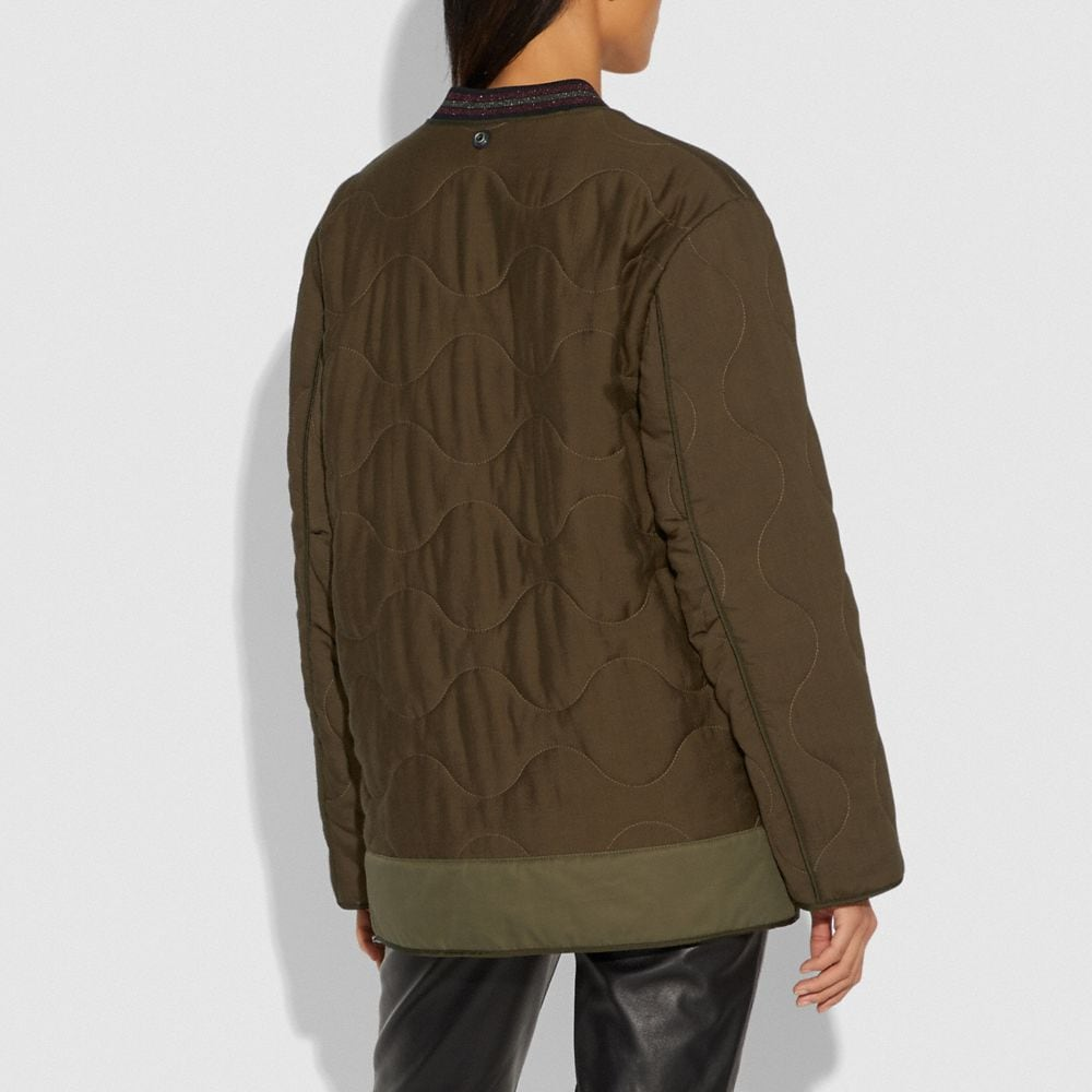 Coach Quilted Military Coat Alternate View 3
