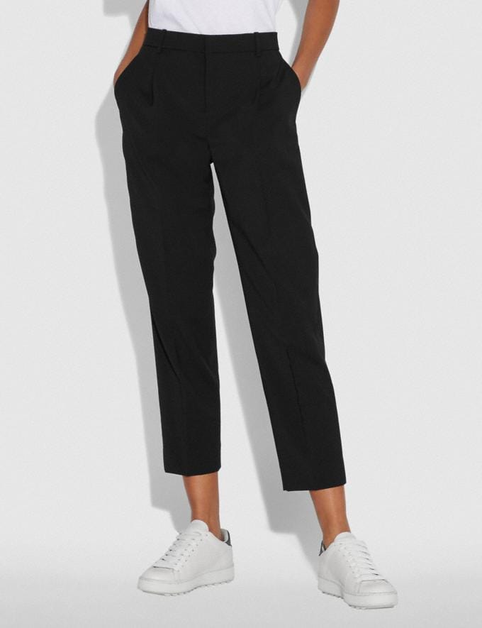 Coach Solid Cropped Tailored Pants Black SALE Women's Sale Ready-to-Wear Alternate View 1