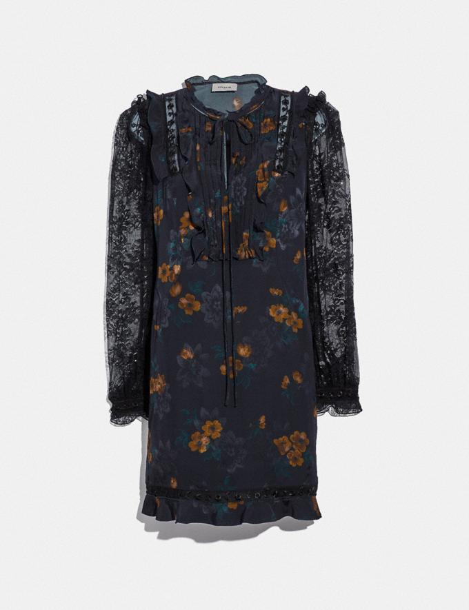 Coach Meadow Floral Print Ruffle Dress Black SALE Women's Sale Ready-to-Wear