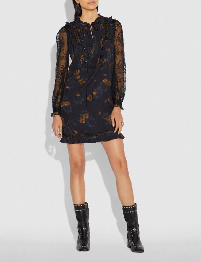 Coach Meadow Floral Print Ruffle Dress Black VIP SALE Women's Sale Ready-to-Wear Alternate View 1