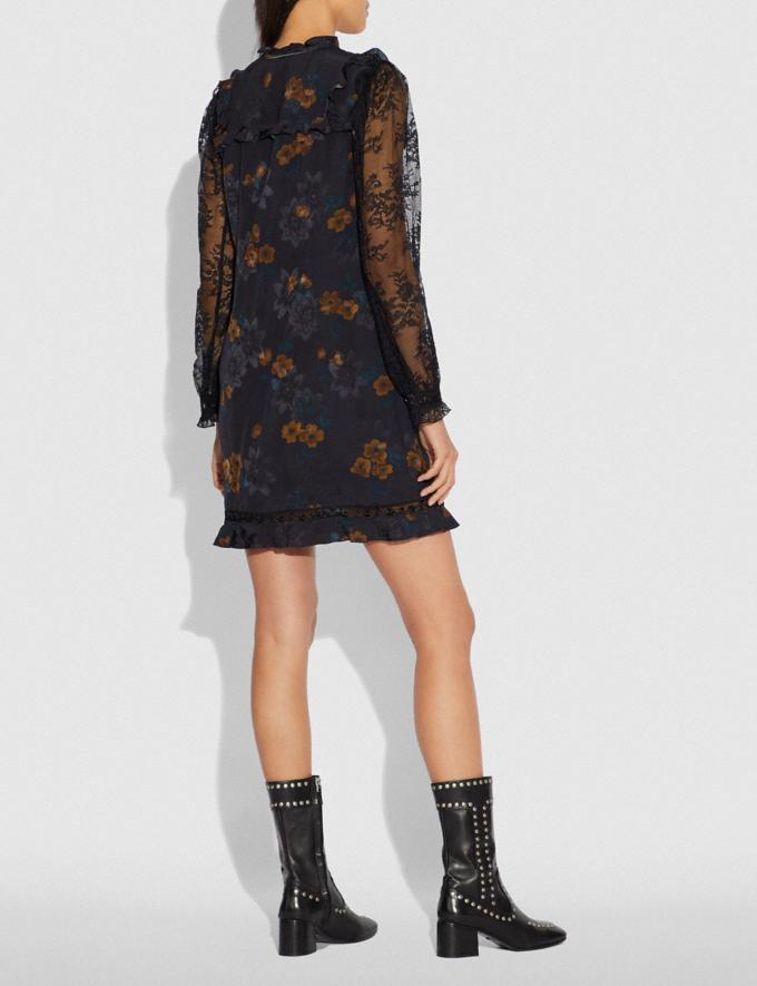 Coach Meadow Floral Print Ruffle Dress Black SALE Women's Sale Ready-to-Wear Alternate View 2
