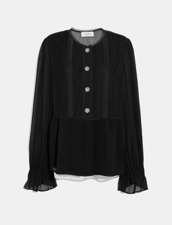Coach Long Sleeve Tea Rose Blouse Black Women Ready-to-Wear Tops