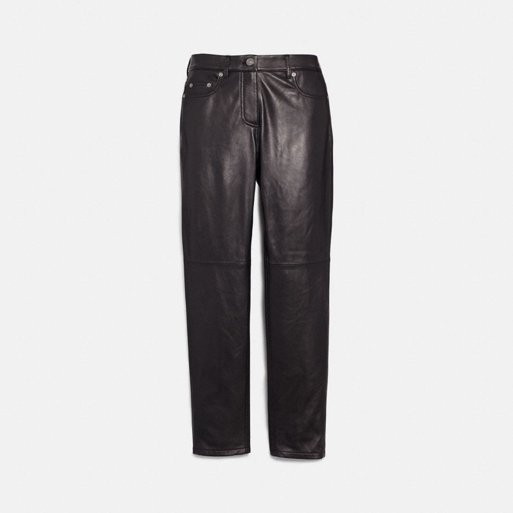 five pocket leather jeans