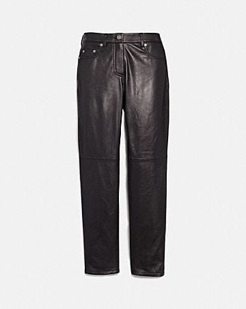 FIVE POCKET LEATHER JEANS