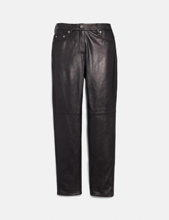 Coach Five Pocket Leather Jeans Black Women Ready-to-Wear Bottoms