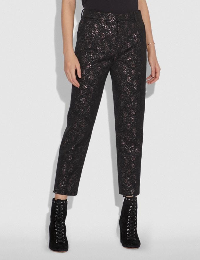 Coach Cropped Tailored Jacquard Pants Pink SALE Women's Sale Ready-to-Wear Alternate View 1