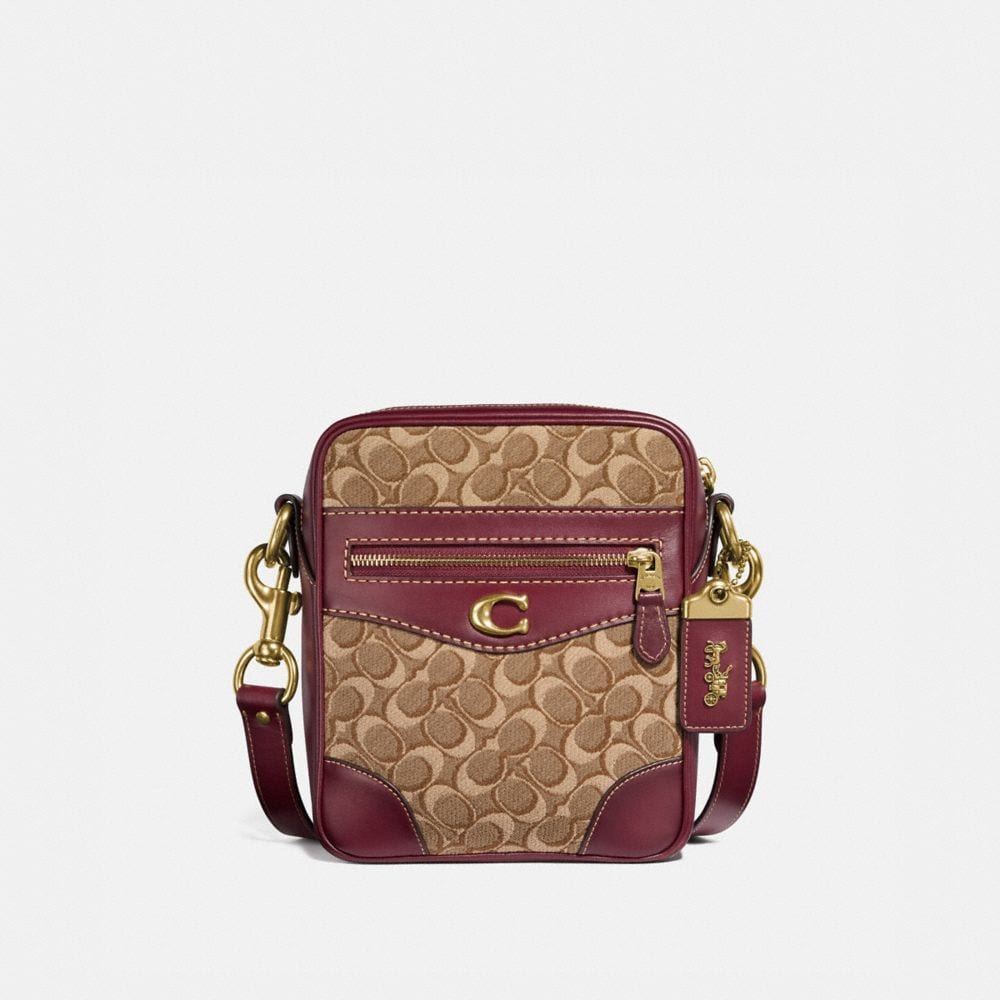 max crossbody 18 in signature jacquard