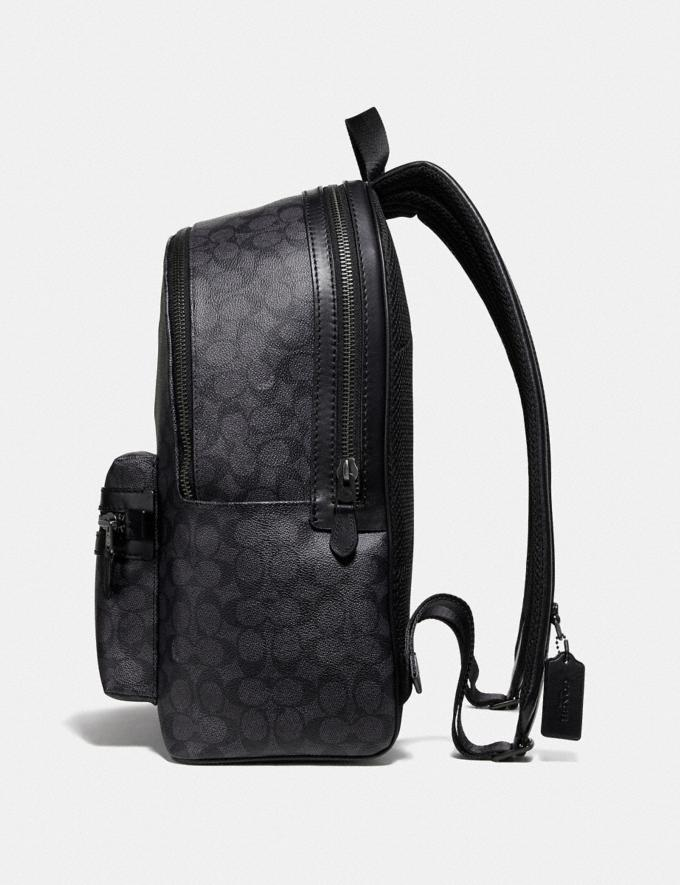 Coach Academy Backpack in Signature Canvas With Rexy Charcoal/Black Copper Men Bags Backpacks Alternate View 1