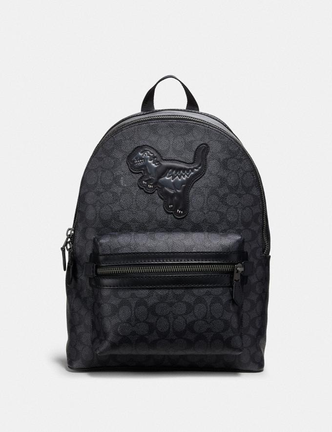 Coach Academy Backpack in Signature Canvas With Rexy Charcoal/Black Copper Men Bags