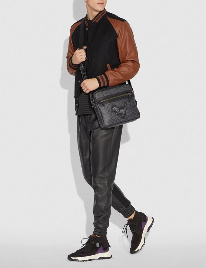 Coach Dylan 27 in Signature Canvas With Rexy Charcoal/Black Copper Men Bags Messenger Bags Alternate View 3