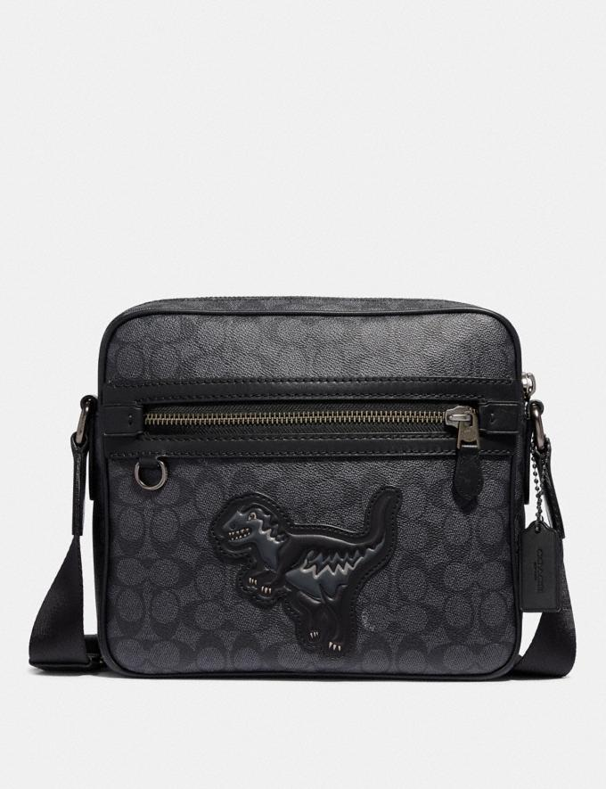 Coach Dylan 27 in Signature Canvas With Rexy Charcoal/Black Copper Men Bags Messenger Bags