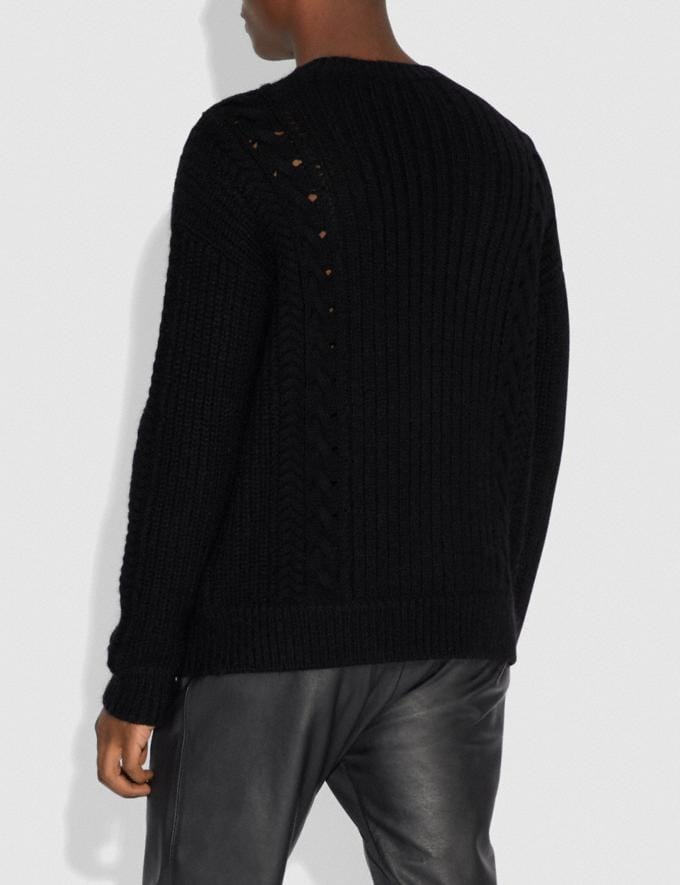 Coach Rexy Cable Knit Sweater Black Men Ready-to-Wear Tops & Bottoms Alternate View 2