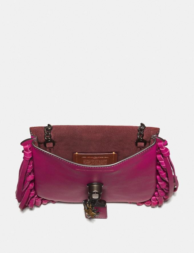 Coach Fringe Saddle Bag With Pyramid Rivets Fuchsia/Pewter Women Bags Crossbody Bags Alternate View 2