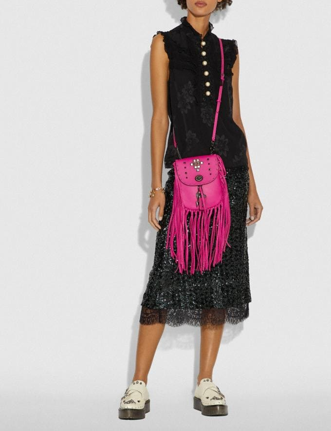 Coach Fringe Saddle Bag With Pyramid Rivets Fuchsia/Pewter Women Bags Crossbody Bags Alternate View 3
