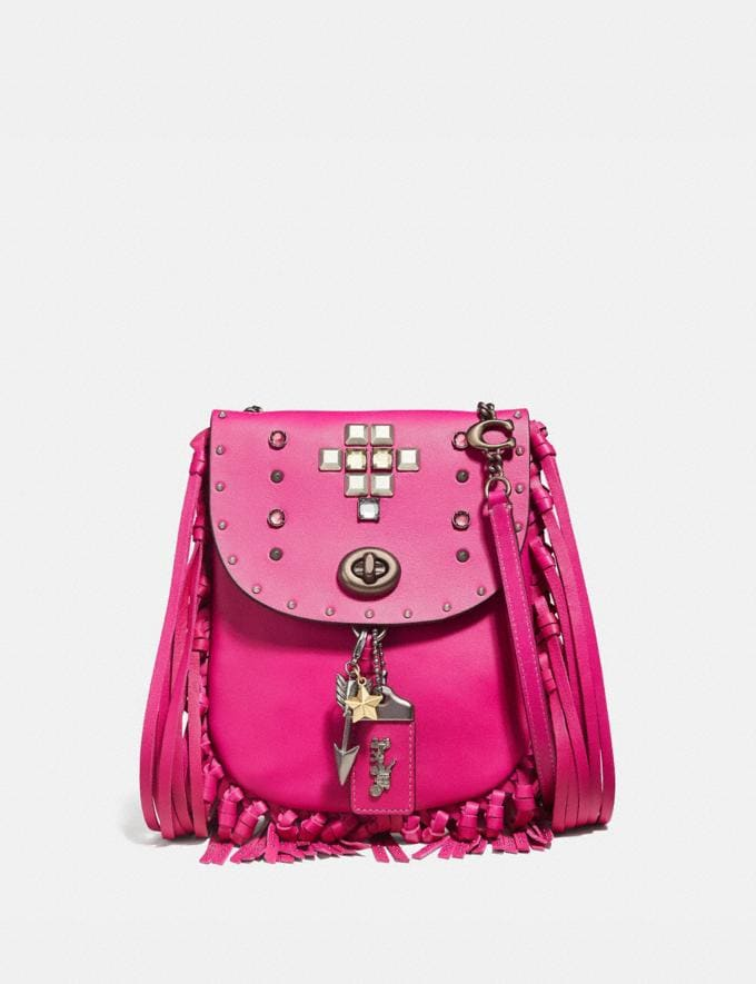 Coach Fringe Saddle Bag With Pyramid Rivets Fuchsia/Pewter Women Bags Crossbody Bags