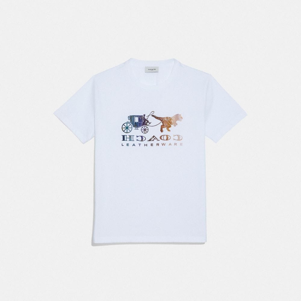 Mirrored Rexy And Carriage Satin-Stitch Logo Tee in Optic White