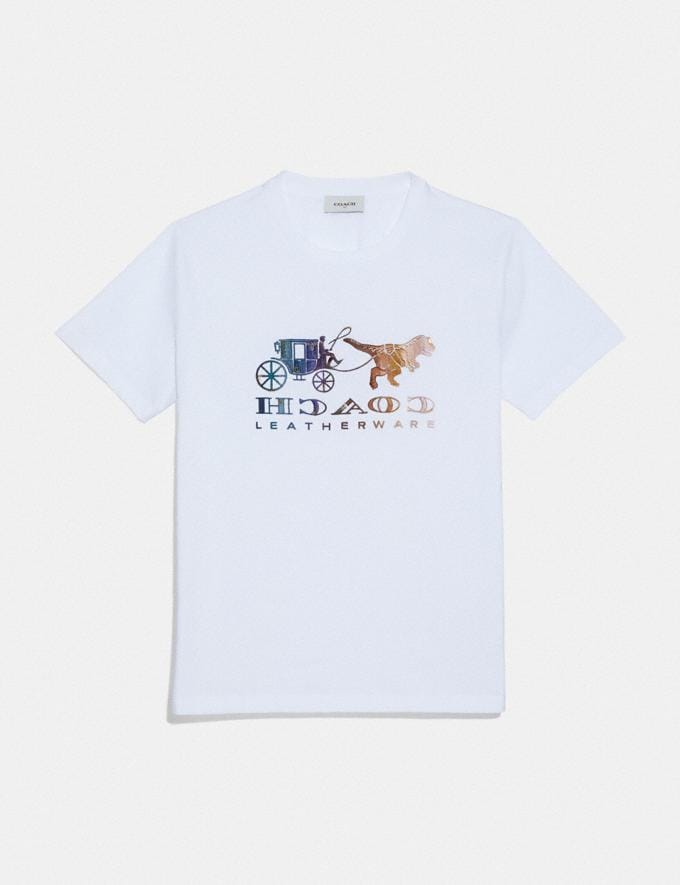 Coach Mirrored Rexy and Carriage T-Shirt Optic White Women Ready-to-Wear Tops