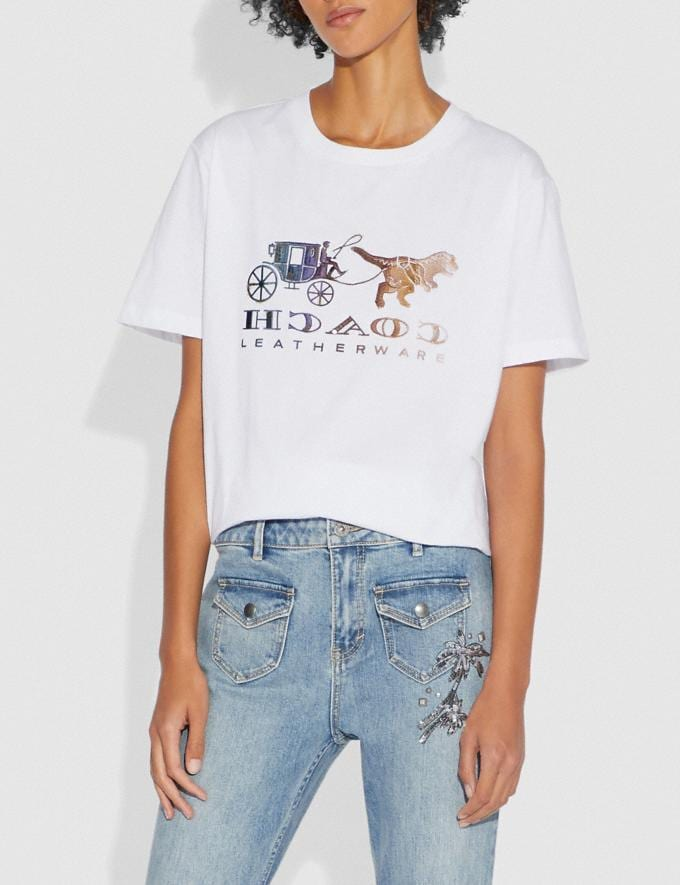 Coach Mirrored Rexy and Carriage T-Shirt Optic White Women Ready-to-Wear Tops Alternate View 1