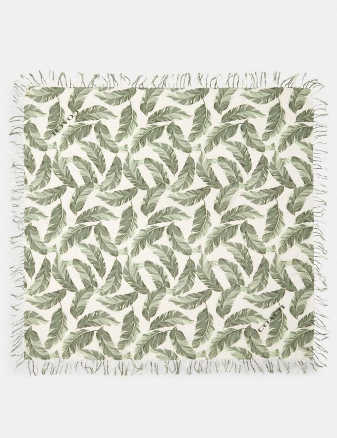 Coach Banana Leaves Print Oversized Square Scarf Cargo Green/Chalk