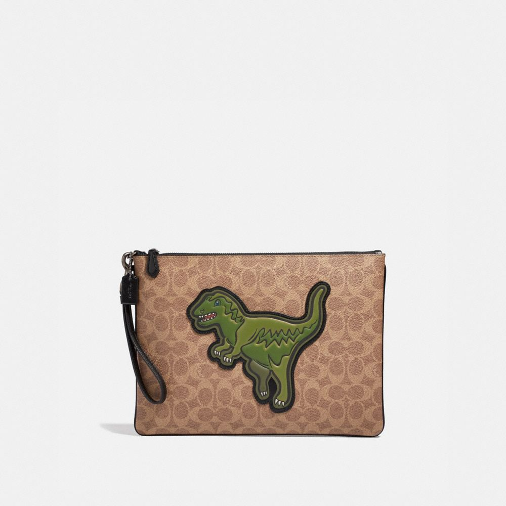 Coach Pouch 30 in Signature Canvas With Rexy